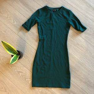 Topshop Olive Green Quarter Sleeve Bodycon Dress